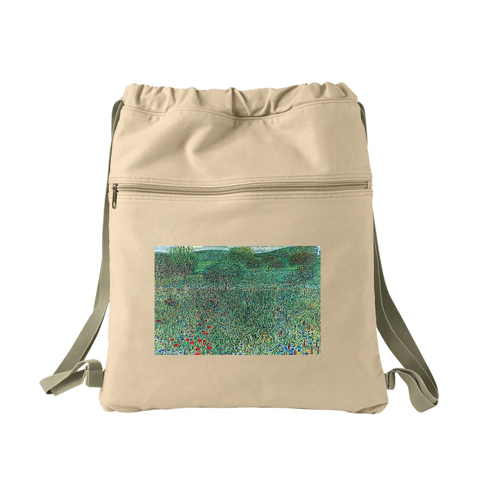 Female Act With Animals (Klimt) Canvas Dyed Sack Backpack Bag