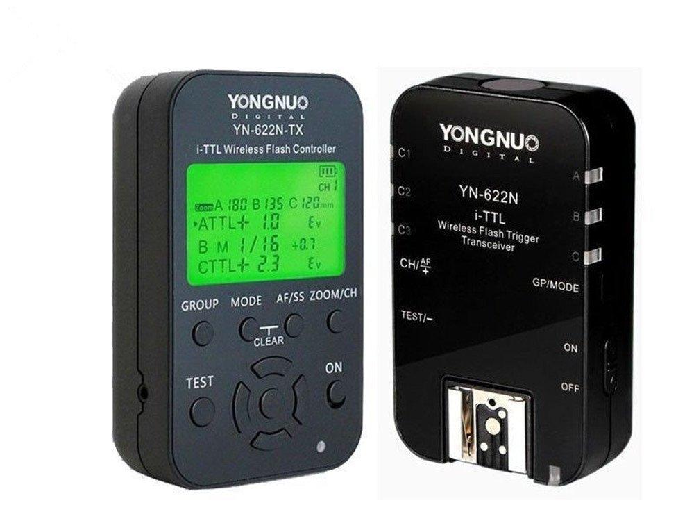 YONGNUO YN622N-KIT Wireless i-TTL Flash Trigger Kit with LED Screen for Nikon including 1X YN622N-TX Controller and 1X YN622 N Transceiver by YONGNUO