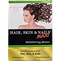 Purvana Max Hair, Skin, and Nails Vitamin Vegetable Capsules for High Absorption...