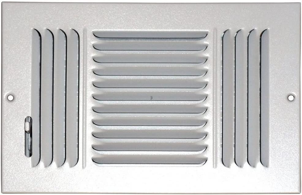 Speedi-Grille SG-612 CW3 6-Inch by 12-Inch White Ceiling//Sidewall Vent Register with 3 Way Deflection