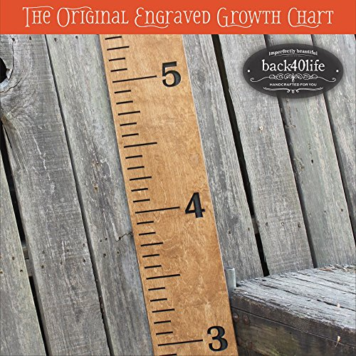 "Back40Life | 60"" Premium Engraved Wooden Growth Height Chart Ruler - The Establishment (Early American + Black)"