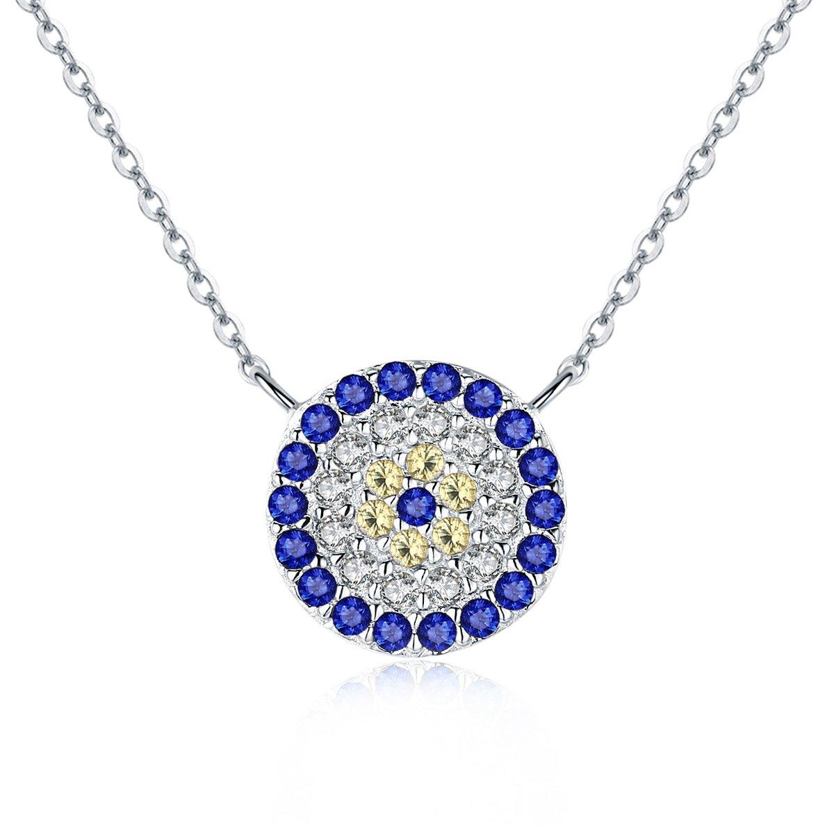 WOSTU Genuine 925 Sterling Silver Evil Eye Jewelry Set Pendant Necklace Bracelets Stud Earrings for Women CQB006+CP0012-S