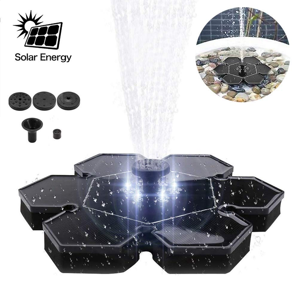 Flower Patio Pond Upgraded Solar Water Fountain Pump 2.4W LED Solar Light Powered Waterproof Panel Pump Outdoor for Birdbath Pool Lawn and Garden Decoration