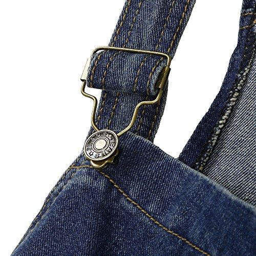 Jeans Alta Jumpsuit Lunga Casual Elegante Donna Tasche Salopette Tinta Unita Vita Ragazza Baggy Moda In Blu Topgrowth Strappati aUnAt7qx