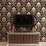Yancorp Gold Black Luxury Victorian Damask Embossed Textured Wallpaper 21
