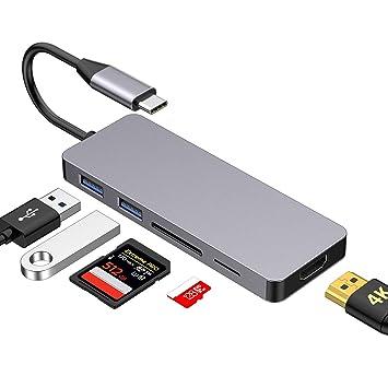 Ofima Adaptador HUB USB C 5 en 1, Hub Tipo C HDMI con tarjeta SD Tarjeta TF y 2 puertos USB 3.0 con 4K HD 1080P