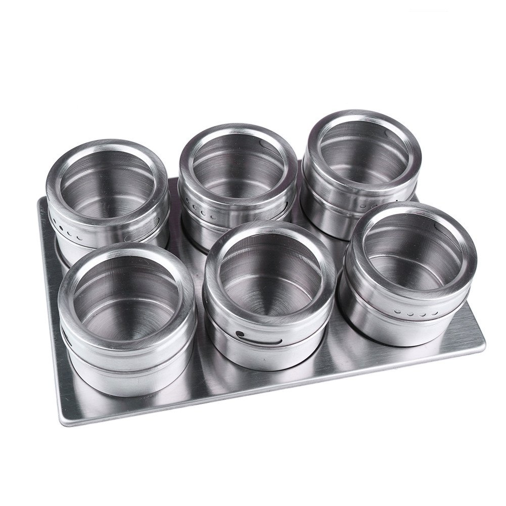 6 Pieces Metal Kitchen Condiment Storage Tank Set Stainless Steel Magnetic Spice Jars with Rack Set Convenient and Durable Kitchen Accessories tool box Maofacegirl