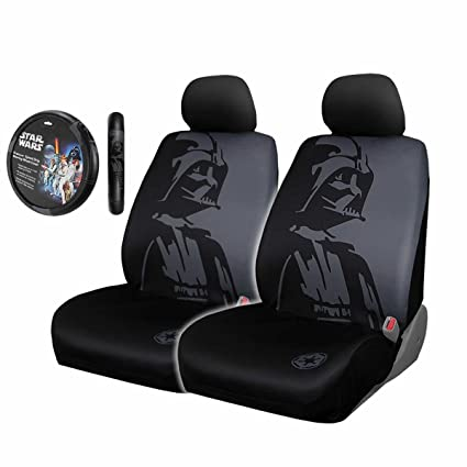 5pc Star Wars Darth Vader Black Front Seat Covers Steering Wheel Cover Set