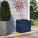 22 Gal. Small Storage Seat Patio Deck Box (Navy Blue)
