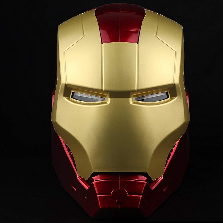 QWEASZER Iron Man Casco Máscara Luminosa, Marvel Avengers Plástico Máscaras faciales máscaras Cascos Película de Halloween Cosplay Accesorios de Disfraces