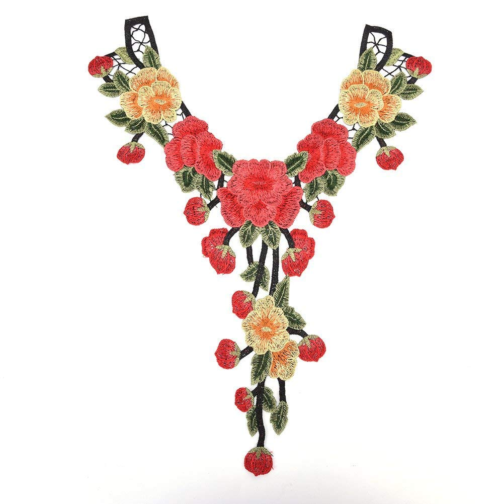 1Pcs New Colorful Craft Collar Flower Venise Floral Embroidered Applique Trim Decorated Lace Neckline Collar Sewing Accessories (Color 1) yinqin