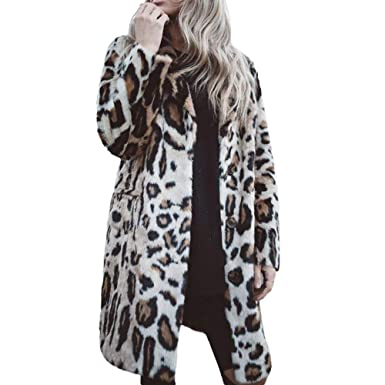 9f5dbb3cda2a6 ... Long Sleeve Leopard Print Coat with Buttons Fashion Coat Cardigan with  Pockets Turn-Down Collar Long Jacket Winter Warm Outwear  Amazon.co.uk   Clothing