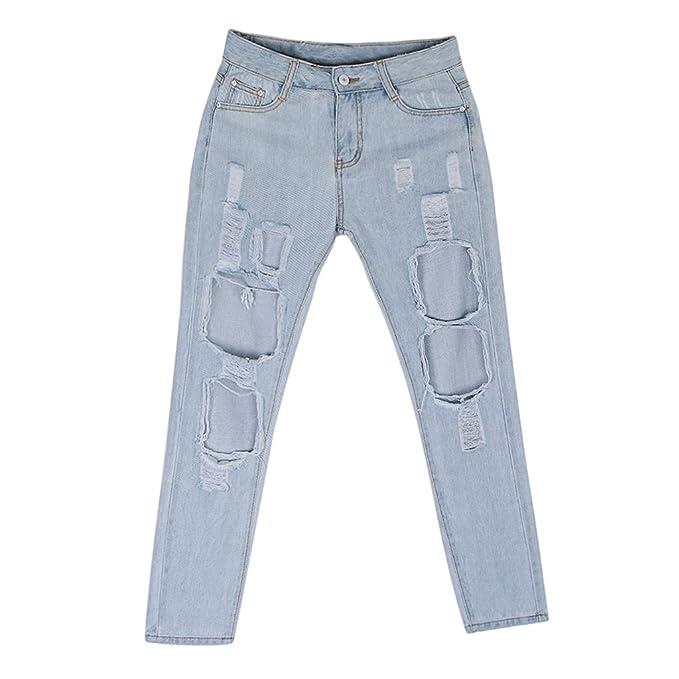 FITYLE Pantalones Vaqueros Rasgados De Gran Agujero Retro ...