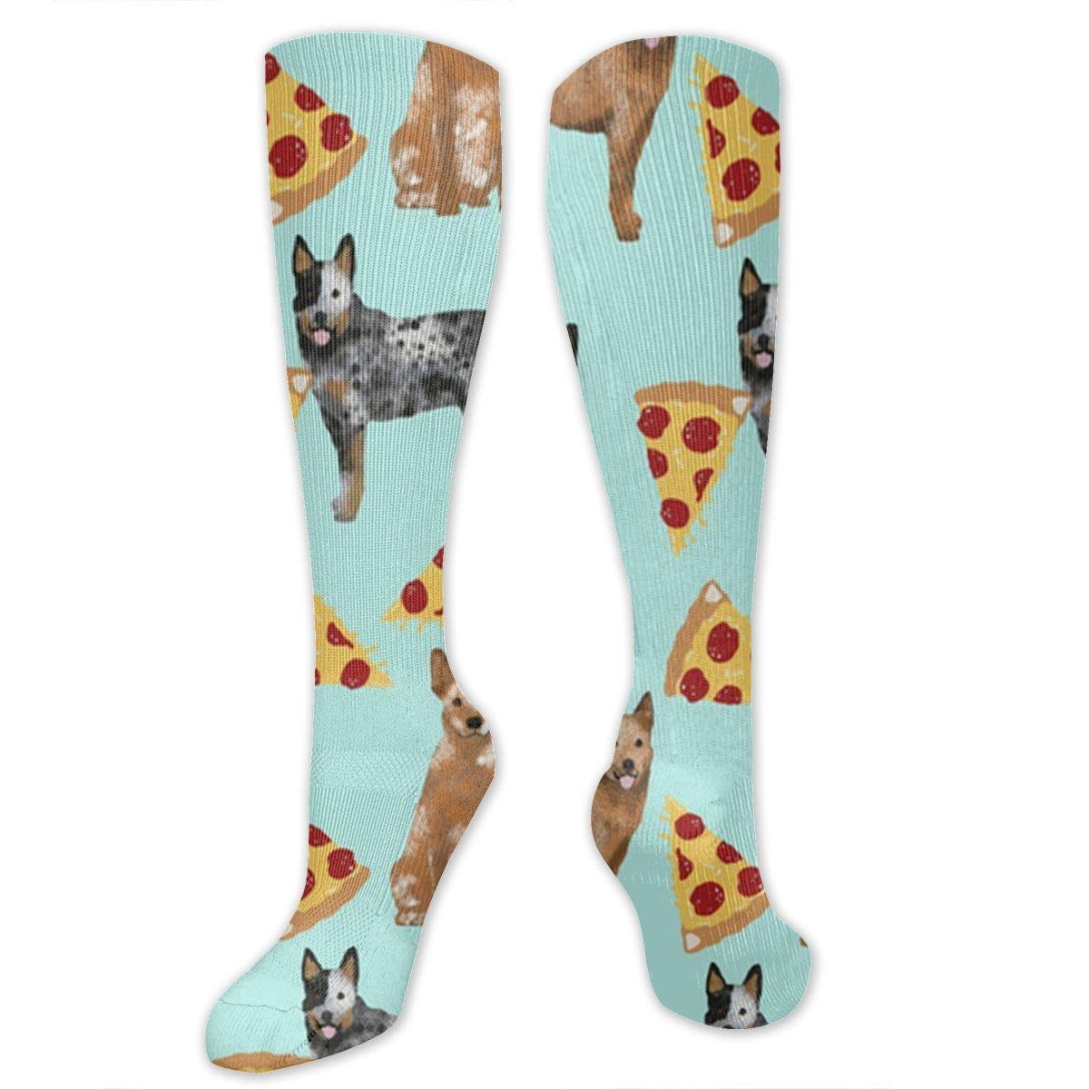 Australian Cattle Dog Blue and Red Heelers and Pizzas Mens//Womens Sensitive Feet Wide Fit Crew Socks and Cotton Crew Athletic Sock
