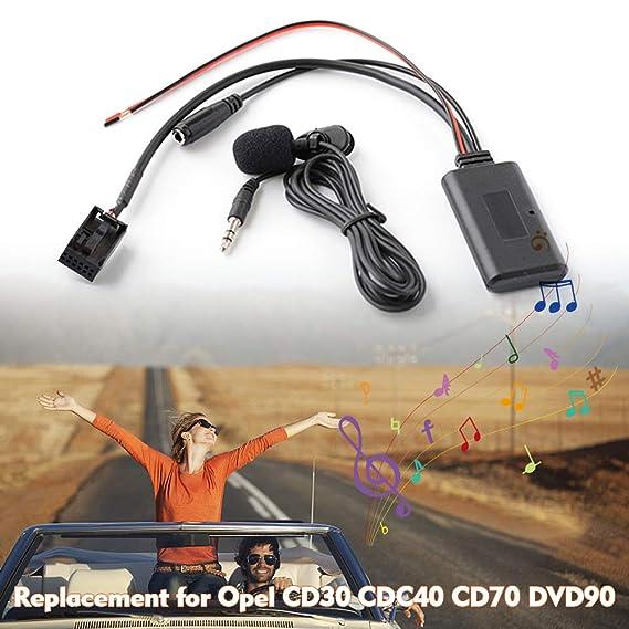 KKmoon Adattatore BT Audio AUX-in per Auto con Microfono Chiamata in Vivavoce Sostituzione per Opel CD30 CDC40 CD70 DVD90
