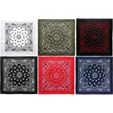 "6 Pack - Bandanas Jumbo Trainmen Cotton Biker Headwraps 27"" x 27"""