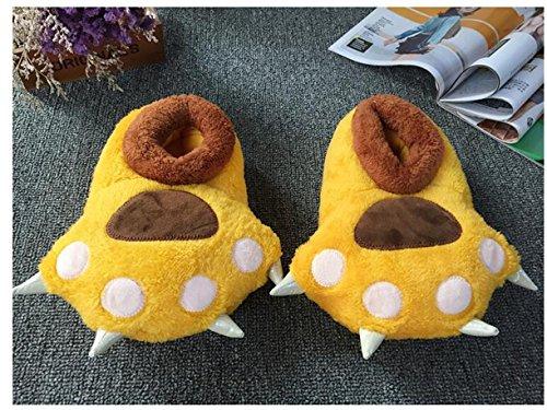 de de en peluche d'hiver coton douces ours Pantoufles griffes palm chaussons Yellow chat AqTdT
