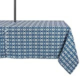DII 100% Polyester, Spill proof,  Machine Washable, Zipper Tablecloth for Outdoor Use With Umbrella Covered Tables, 60x84