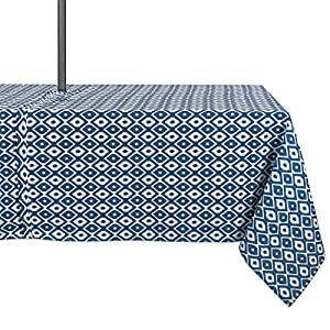 DII Spring & Summer Outdoor Tablecloth, Spill Proof and Waterproof with Zipper and Umbrella Hole, Host Backyard Parties, BBQs, Family Gatherings - (60x120 - Seats 10 to 12) Blue Ikat