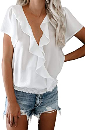 FIYOTE - Camisa de gasa para mujer, blusa suelta con escote en V, camisa superior de túnica, 4 colores, tallas S/M/L/XL/XXL Blanco M: Amazon.es: Ropa y accesorios
