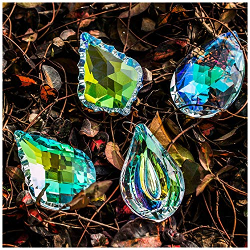 (H&D Colorful Crystal Chandelier Crystals Hanging Lamp Prisms Sun Catcher 76mm,Pack of 4)