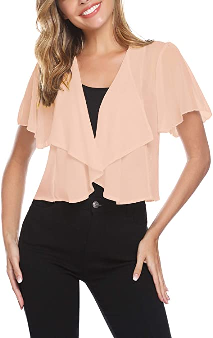 Womens Ladies Open Front Batwing Short Sleeve Lace See Through Bolero Crop Shrug