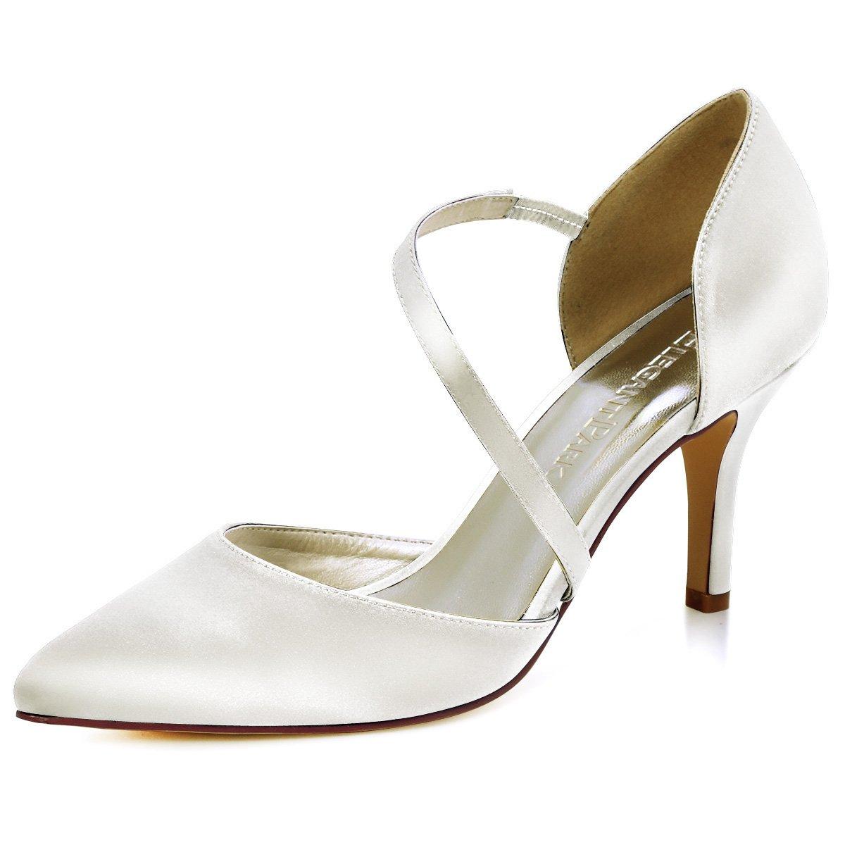ElegantPark HC1711 Women High Heel Strappy Dress Pumps Pointy Toe Satin Wedding Party Shoes Ivory US 8.5