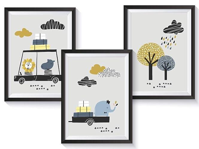 Set Kinderzimmer Babyzimmer Poster Mit Auto Din A4 Optional Mit