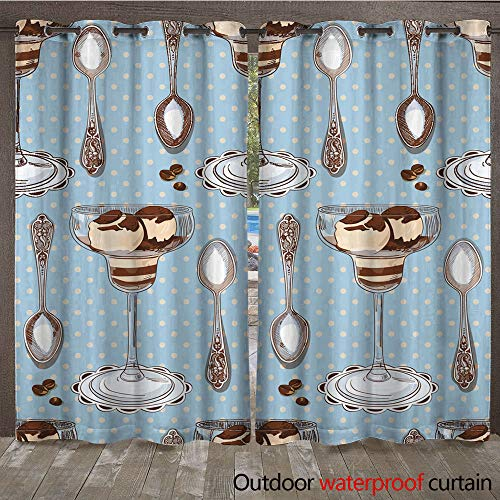 WinfreyDecor Outdoor Balcony Privacy Curtain Seamless Pattern with Vanilla ice Cream teaspoons and Coffee Beans W72 x ()