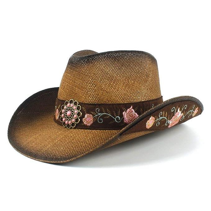 Gorros Sombrero De Panamá Moda para Western Paja Mujer Cowboy Hat Especial  Estilo Verano Elegante Señora 976f087b5b6