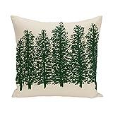 E By Design PFN341IV2GR26-16 Through the Woods Flower Print Pillow, 16'' x 16'', Dark Green