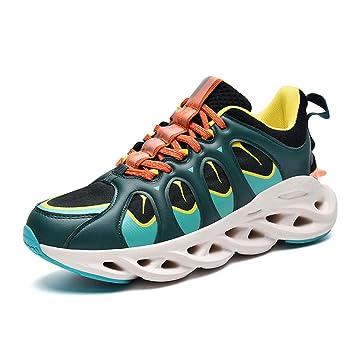 QIMITE Zapatillas de Hombre,Zapatos para Correr con amortiguación Hueca para Hombres Zapatos Deportivos Deportes al Aire Libre Gimnasio Plataforma para Correr Zapatos Coloridos Zapatos Transpirables: Amazon.es: Deportes y aire libre