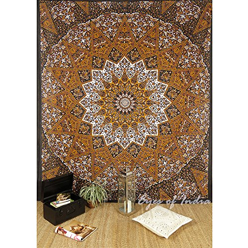 EYES OF INDIA - Large Queen Brown Indian Hippie Mandala Tapestry Hanging Picnic Bohemian Boho Colorful