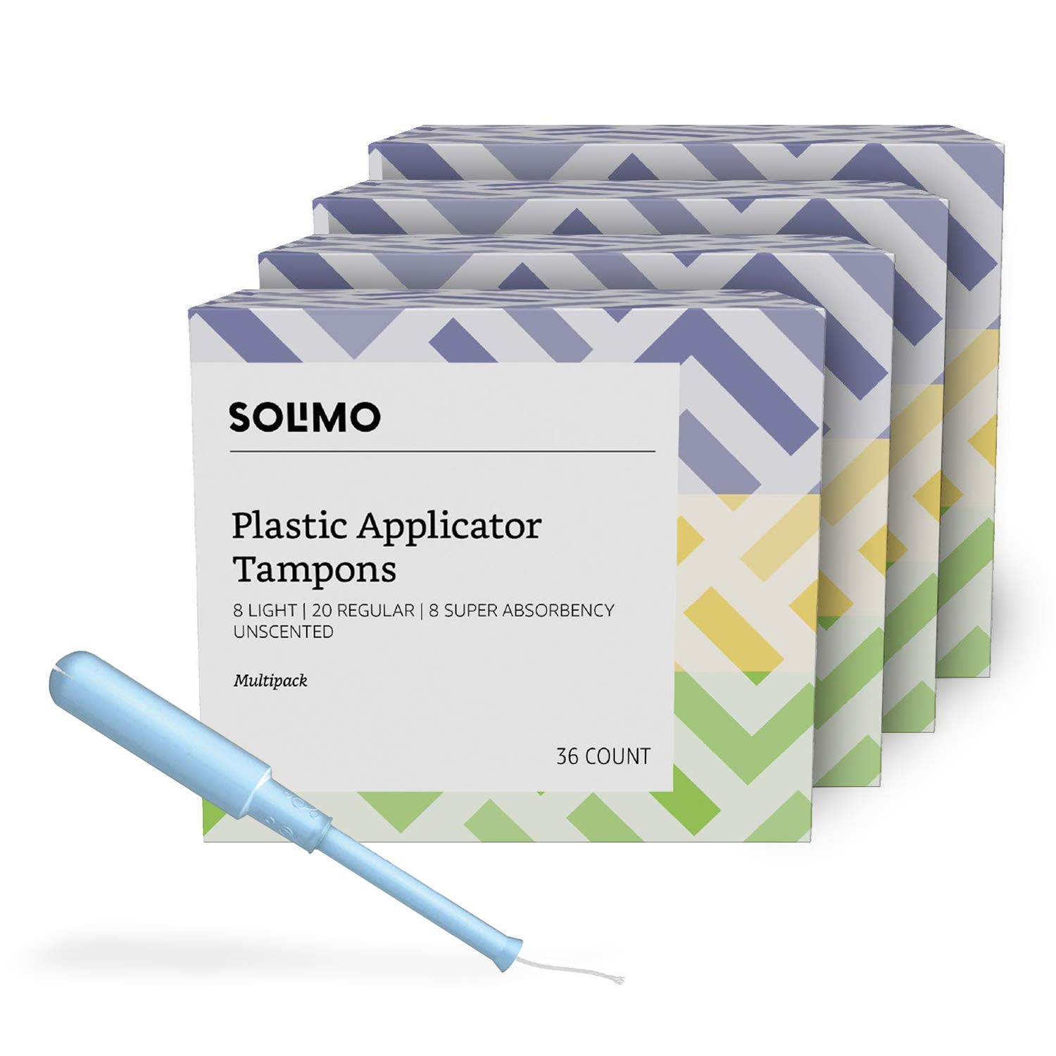 Amazon Brand - Solimo Plastic Applicator Tampons, Light Absorbency Multipack, Light/Regular/Super Absorbency, Unscented, 144 Count (4 packs of 36) by Solimo