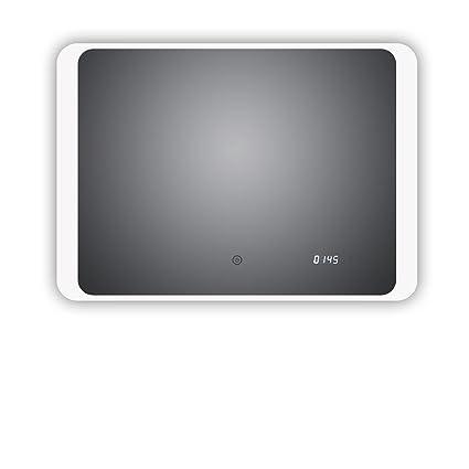 LED Cuarto de baño espejo con reloj digital integrado, Kiel 80 x 60