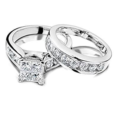 Amazon.com: Princess Cut Diamond Engagement Ring And Wedding Band Set 1/2  Carat (ctw) In 10K White Gold: IdealCutGems: Jewelry
