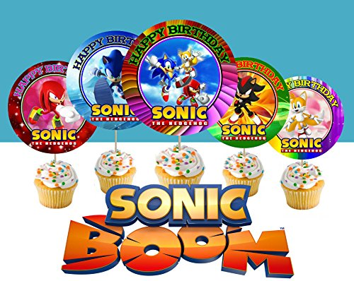 Price comparison product image 12 Special SONIC THE HEDGEHOG Inspired Party Picks,  Cupcake Picks,  Cupcake Toppers 1