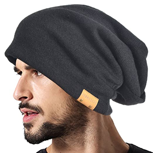 34fae1a97b1c VECRY Men Oversized Slouch Beanie Large Skullcap Knit Hat (Black) at ...