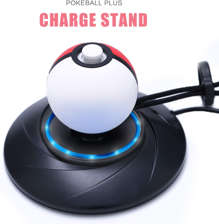 Soporte de cargador para Poke Ball Plus, estación de carga para Nintendo Switch Pokemon Lets Go Pikachu Lets Go Eevee Poke Ball Plus controlador con cable de carga USB tipo C de