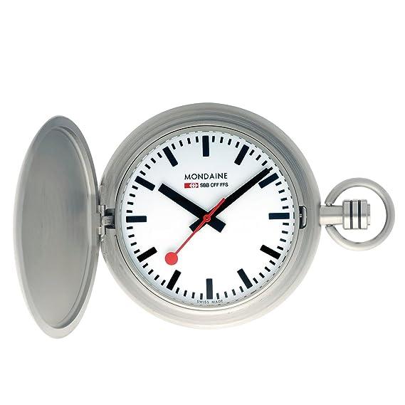 Mondaine SBB Savonnette Pocket Watch 51mm A660.30349.16SBB Reloj de pulsera Cuarzo Hombre correa de Sin Plateado: Amazon.es: Relojes