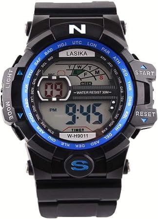 JoyRolly Reloj Digital para Hombre, Relojes Deportivos Digitales de Cuarzo para Hombre, Pulsera Impermeable de Silicona Militar Blue: Amazon.es: Hogar
