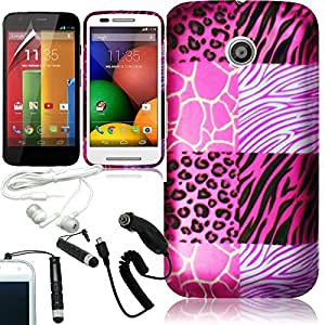 [ARENA] PINK BLACK EXOTIC ANIMAL SKIN COVER FITTED SNAP ON HARD CASE for MOTOROLA MOTO E + FREE ARENA ACCESSORY KIT
