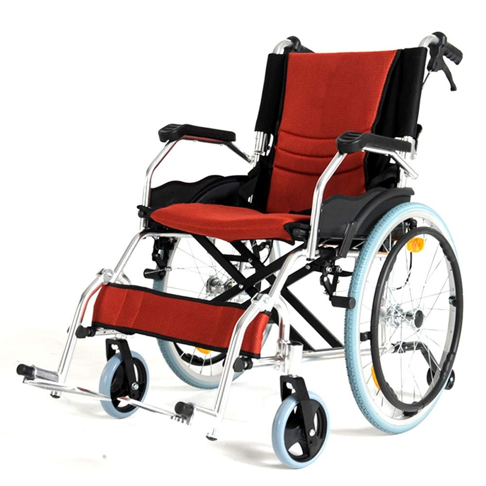 YANGLIYU Folding Wheelchair,Aluminium Wheelchair,Folding Self Propelled Wheelchair,Light and Easy to Carry,Load Capacity Up to 100 Kg,Black, Blue, Red (Color : Red)