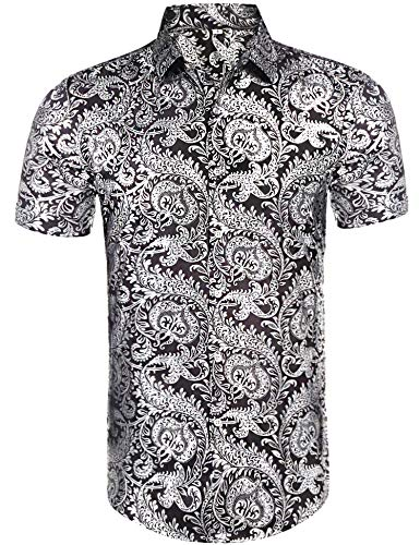 Daupanzees Mens Retro Noble Shirts Luxury Design Short Sleeve Floral Print Summer Holiday Tour Travel Casual Slim Fit Button Down Shirts -