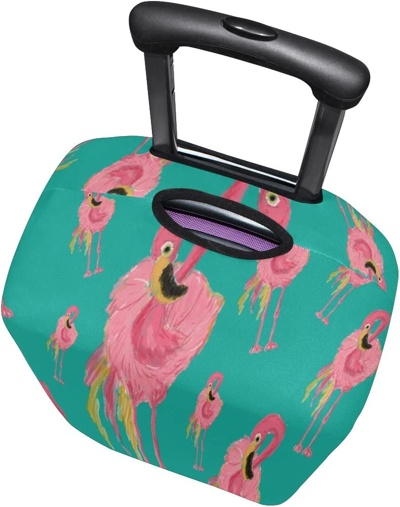 Luggage Protective Covers with Seamless Passionate Flamingos Pattern Washable Travel Luggage Cover 18-32 Inch