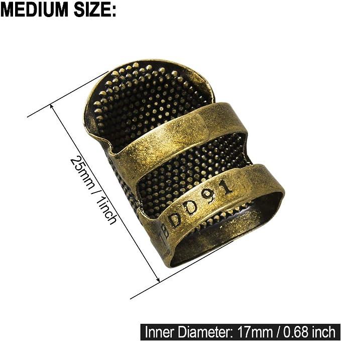 4 Piezas Wenxiaw Anillo Protector de Dedo de Dedal de Costura Costura de Dedal de Metal Dedal Ajustable en la Punta del Dedo para Coser Bordado Manualidades Herramientas de Costura Tama/ño Mediano