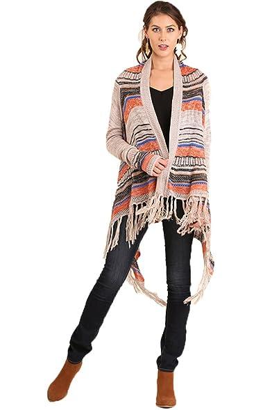 Umgee Women's Striped Fringe Cascade Sweater Cardigan (L, Tan) at ...