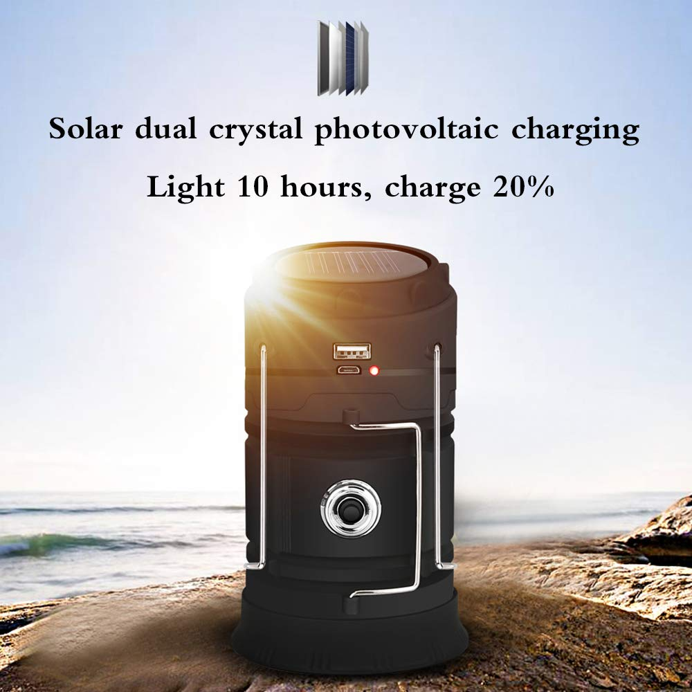 Lampara de Camping Linterna Solar Recargable Portable LED Acampar al Aire Libre de la Festivales garajes veh/ículos cobertizos