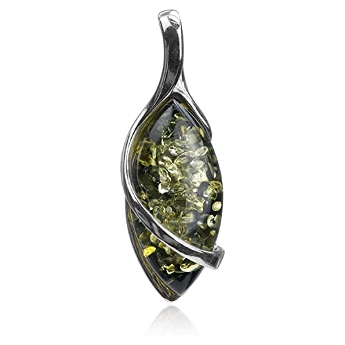 Sterling Silver Green Amber Marquise Pendant