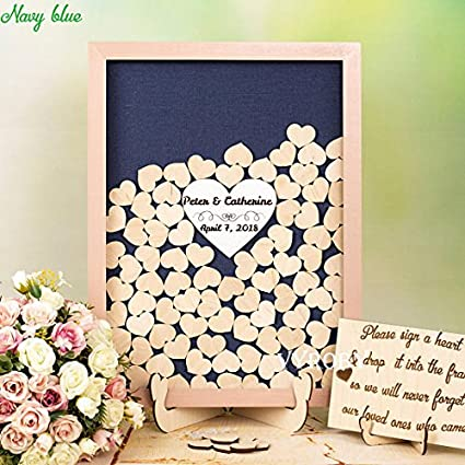 Amazon Com Guestbook Navy And Blush Wedding Guest Book Sign Navy